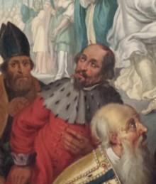 Ferdinand von Köln (Ausschnitt aus: Sebastiansalter in St.Gereon, von Joh. Hulsman (zug.) u. Joh. Toussyn), eig. Foto.